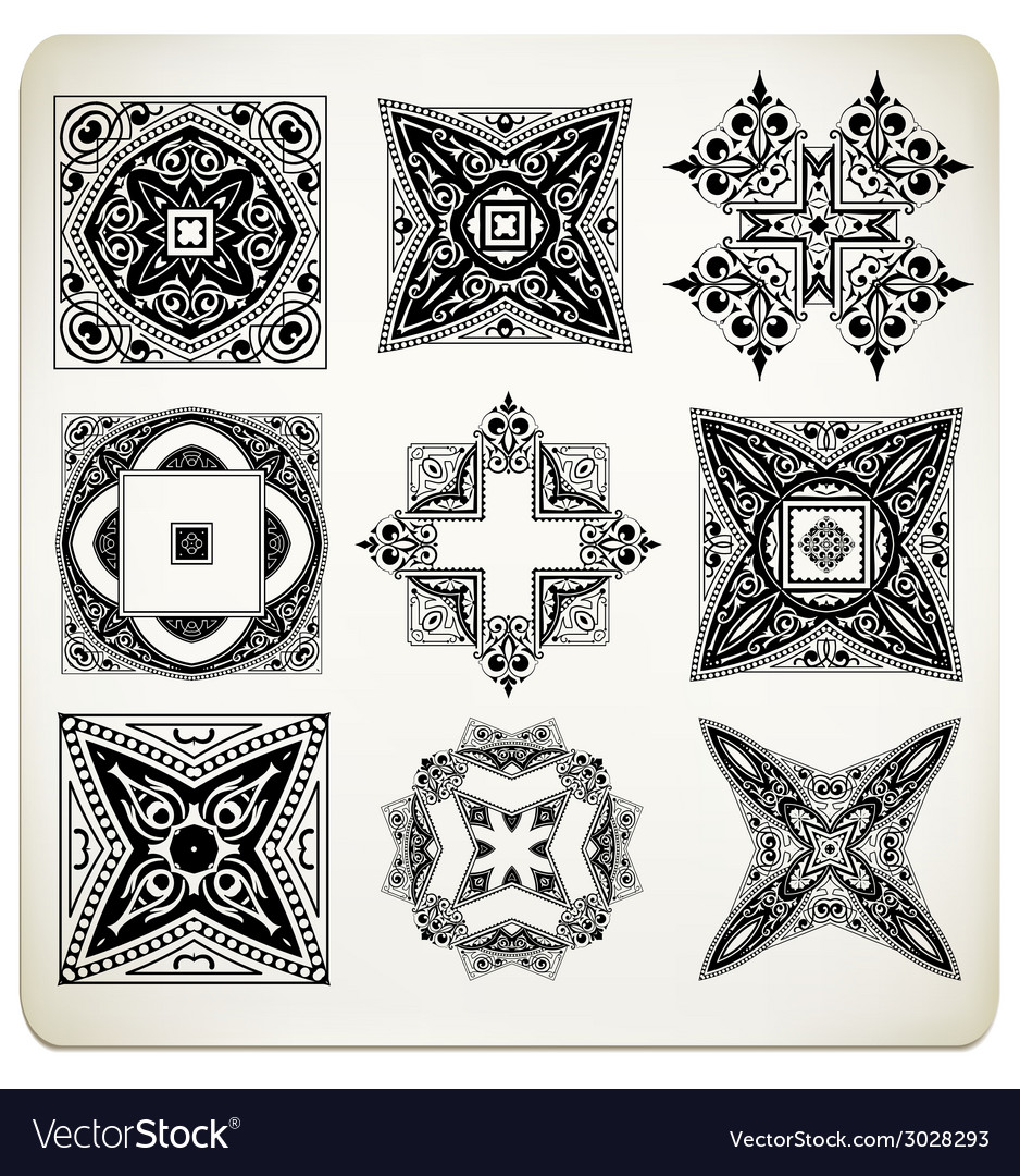 Old baroque design set vector | Price: 1 Credit (USD $1)