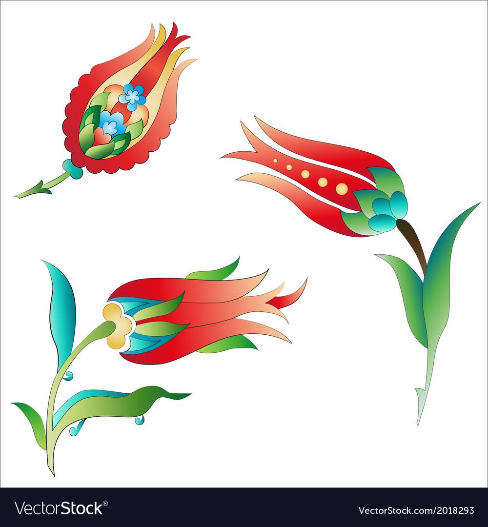 Ottoman art flowers three vector | Price: 1 Credit (USD $1)