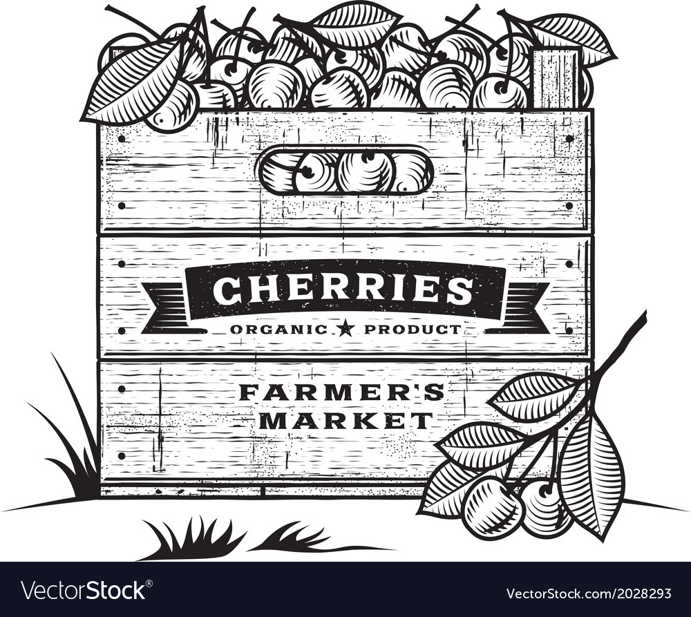 Retro crate of cherries black and white vector | Price: 1 Credit (USD $1)