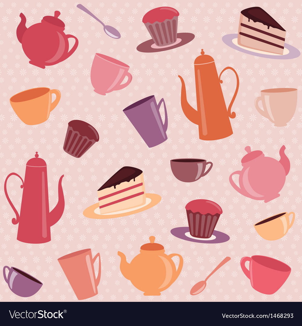 Seamless pattern with tea and coffee items vector | Price: 1 Credit (USD $1)