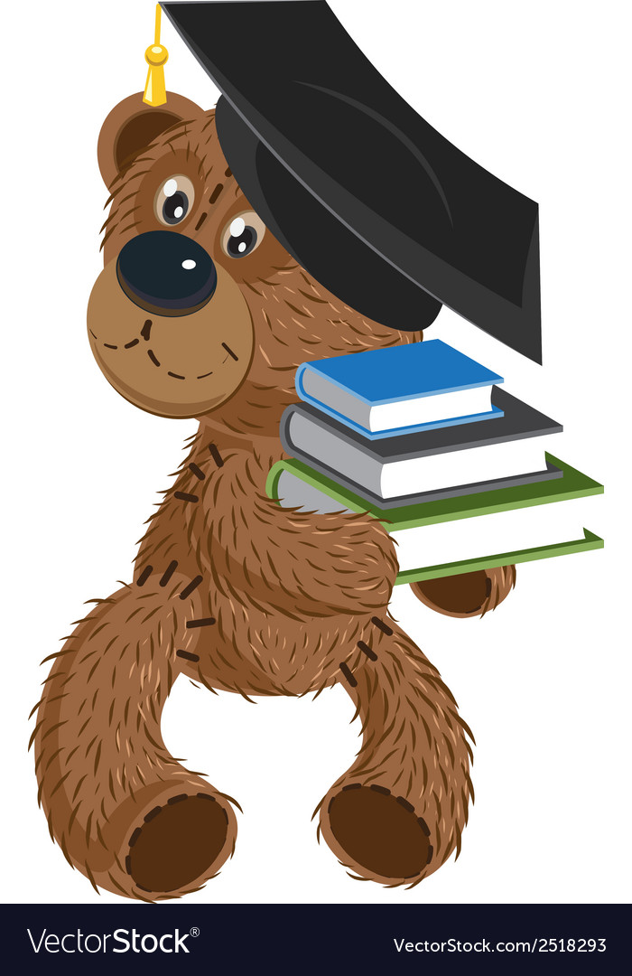 Teddy bear holding a books vector | Price: 1 Credit (USD $1)