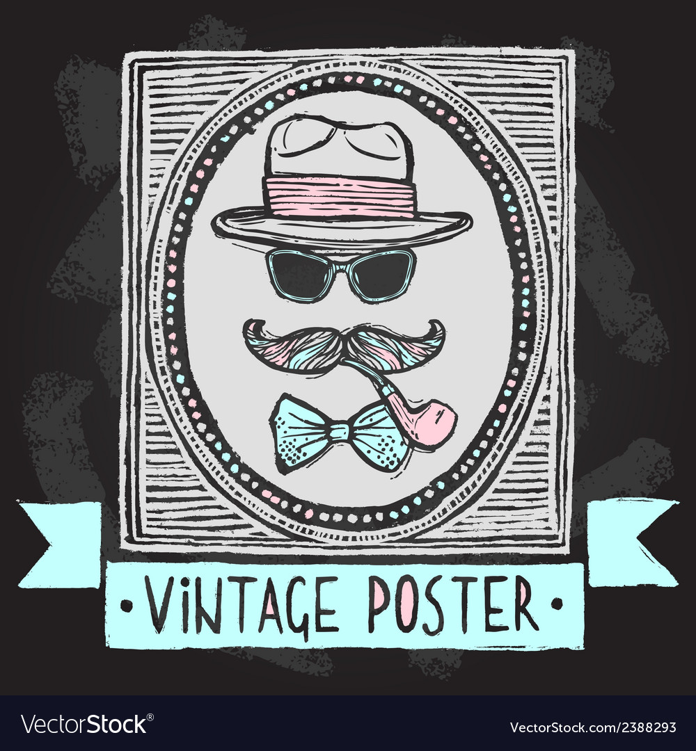 Vintage hats and glasses poster vector | Price: 1 Credit (USD $1)
