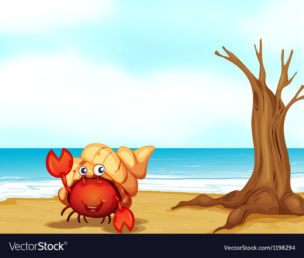 A crab with a shell at the seashore vector | Price: 1 Credit (USD $1)