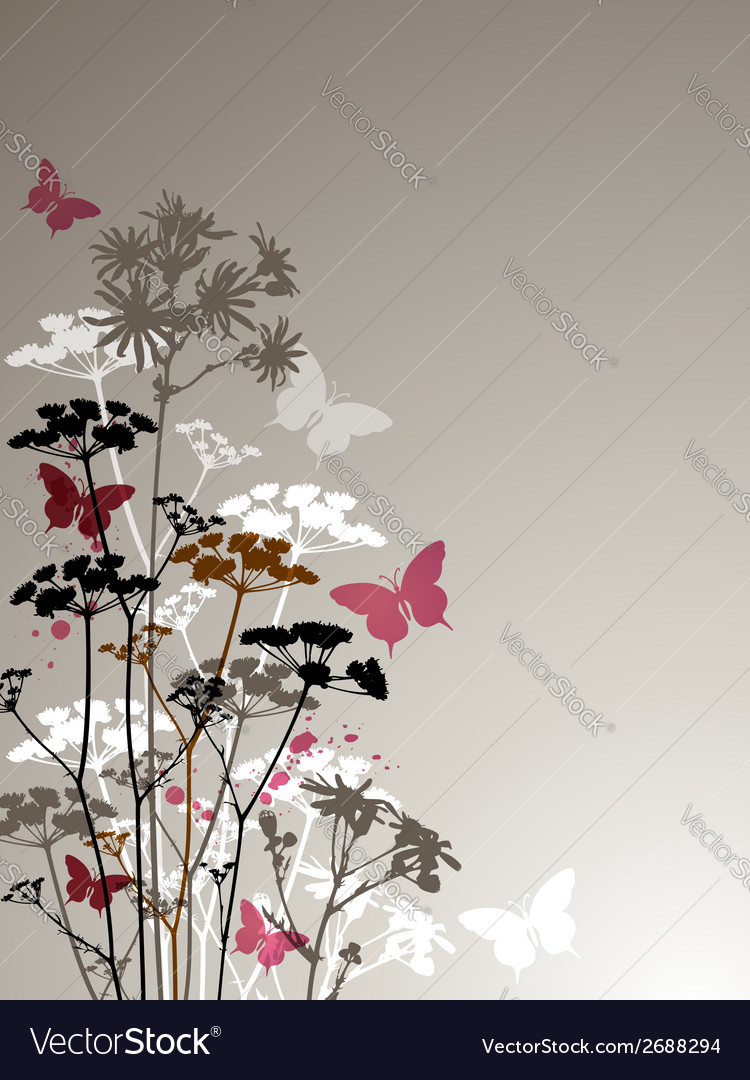 Decorative background with butterflies vector | Price: 1 Credit (USD $1)