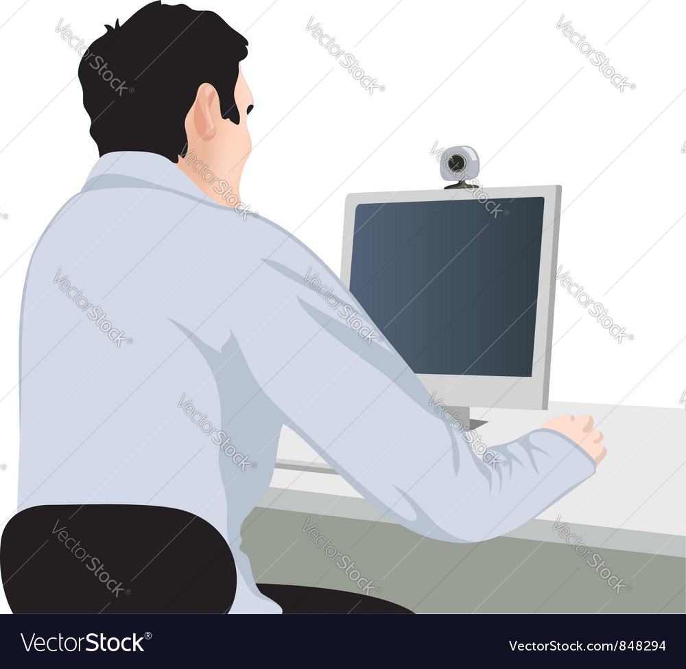 Man and computer vector | Price: 1 Credit (USD $1)