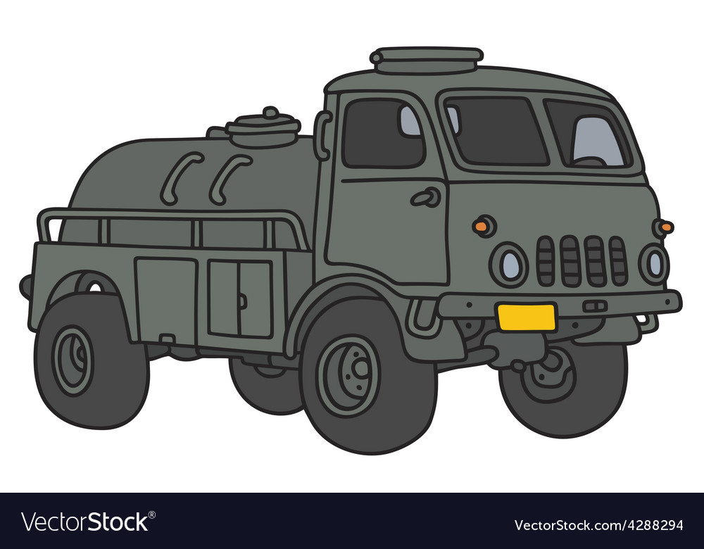 Old military tank truck vector | Price: 3 Credit (USD $3)
