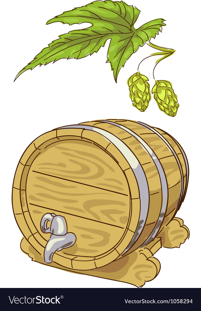 Old wooden barrel and hop branch vector | Price: 1 Credit (USD $1)