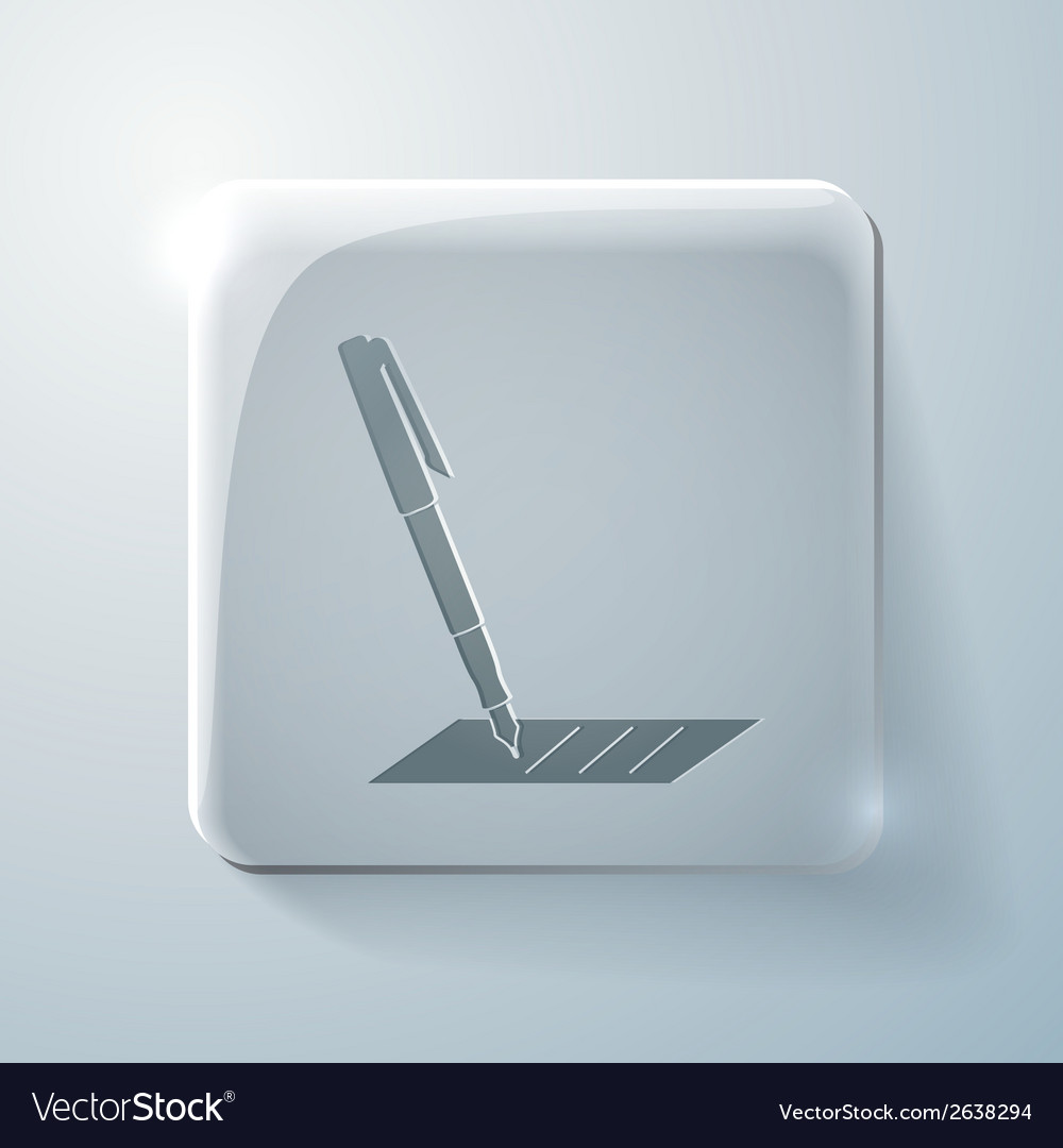 Pen writing on a sheet glass square icon vector | Price: 1 Credit (USD $1)