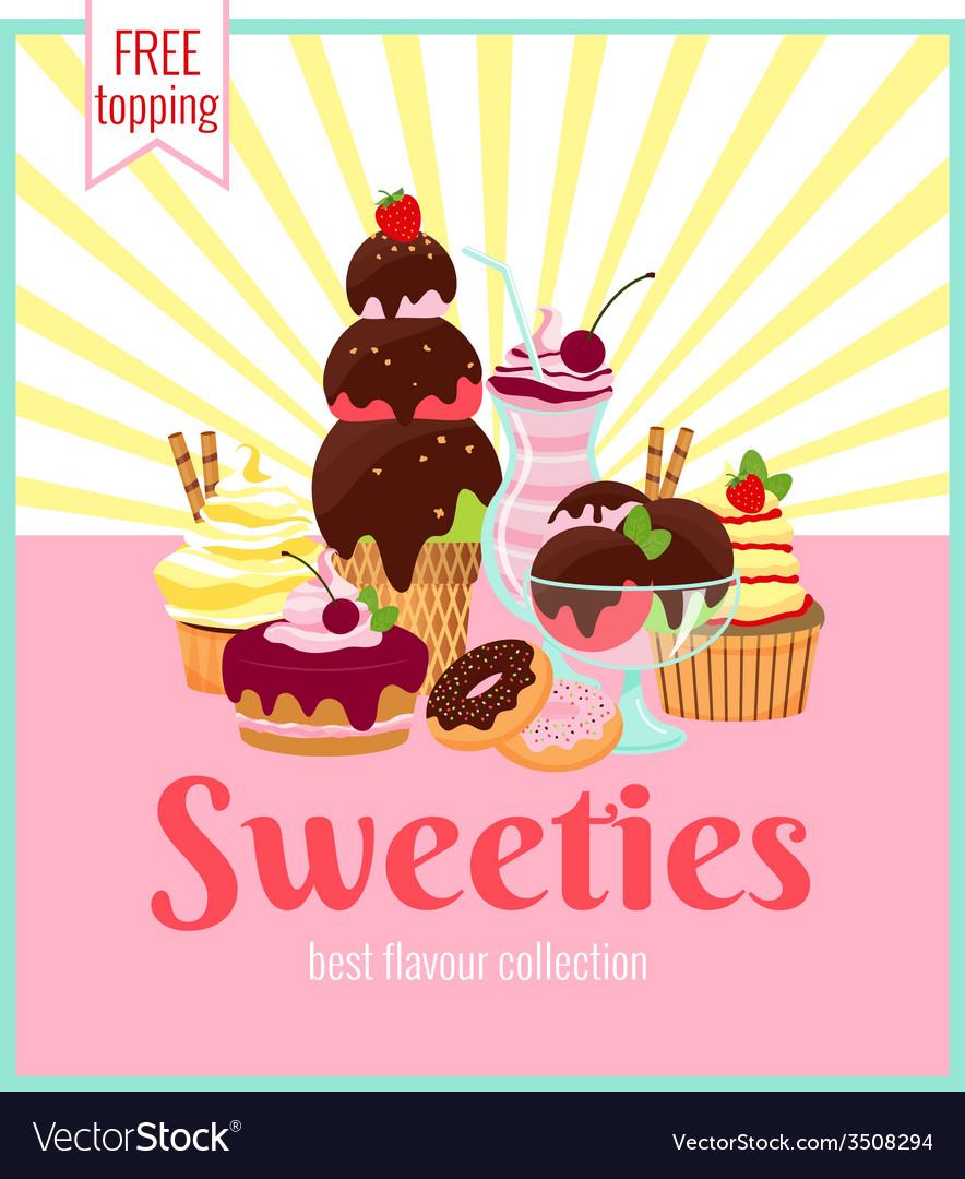 Sweeties retro poster design vector | Price: 1 Credit (USD $1)