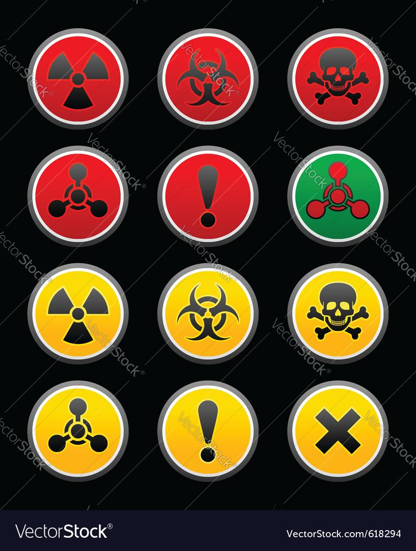 Symbols of hazard black background vector | Price: 1 Credit (USD $1)
