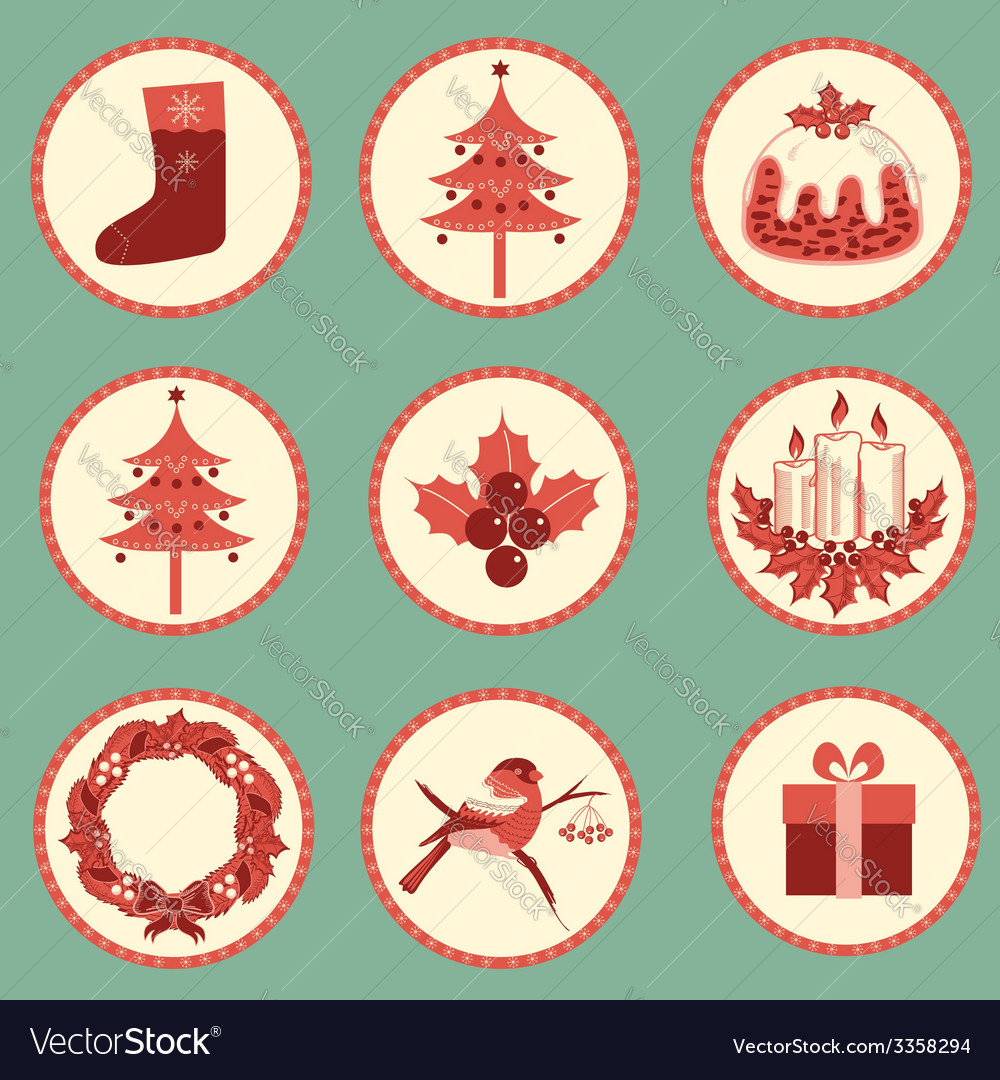 Vintage christmas symbols isolated for design vector | Price: 1 Credit (USD $1)