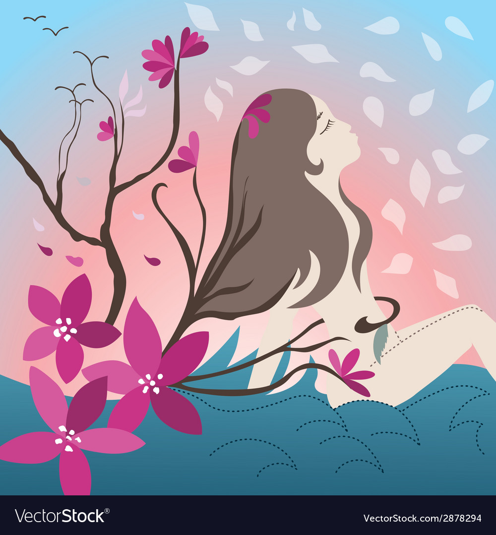 Young girl with blossoming trees vector | Price: 1 Credit (USD $1)