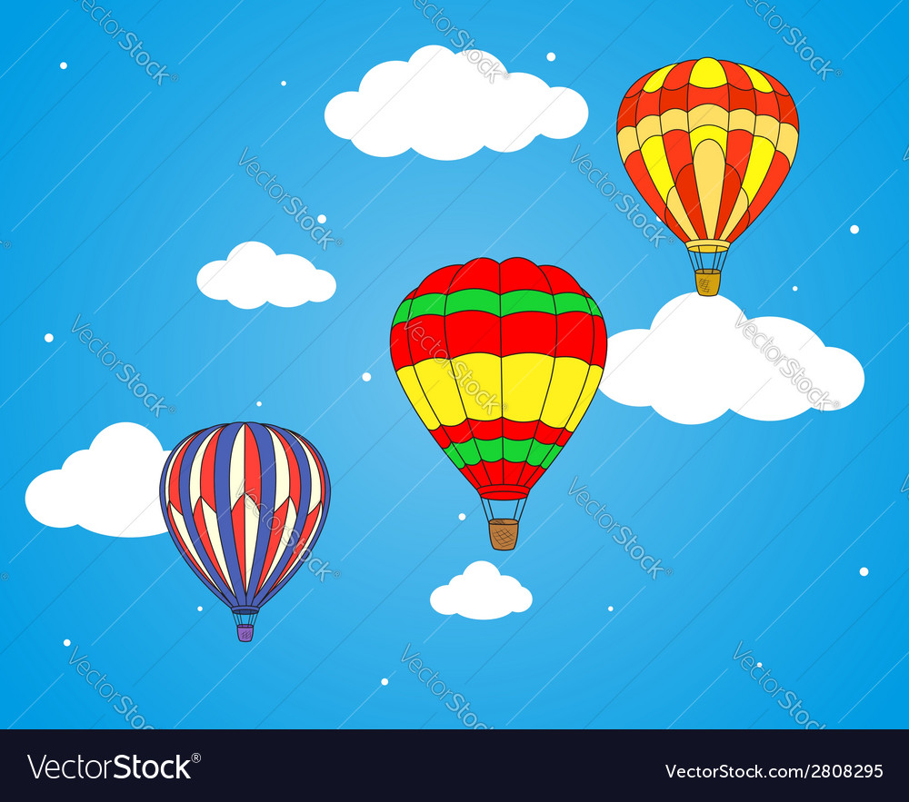 Air balloons and clouds wallpaper vector | Price: 1 Credit (USD $1)