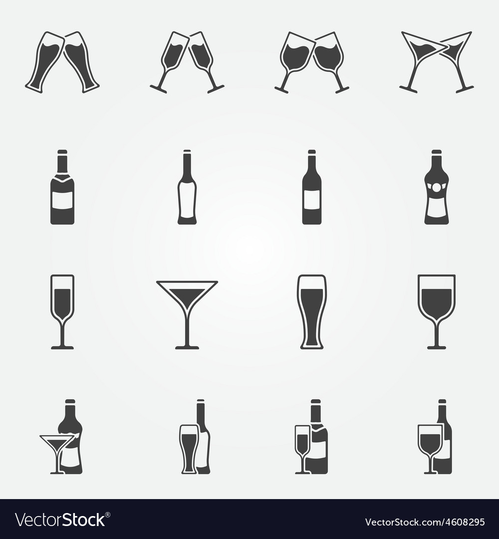 Drink alcohol icons vector | Price: 1 Credit (USD $1)