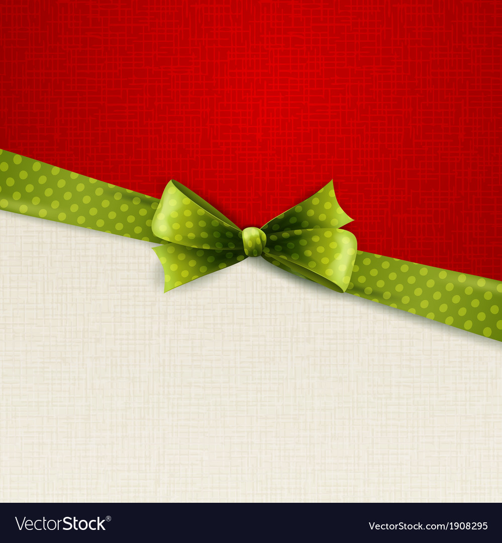 Holiday background with green polka dots bow vector | Price: 1 Credit (USD $1)