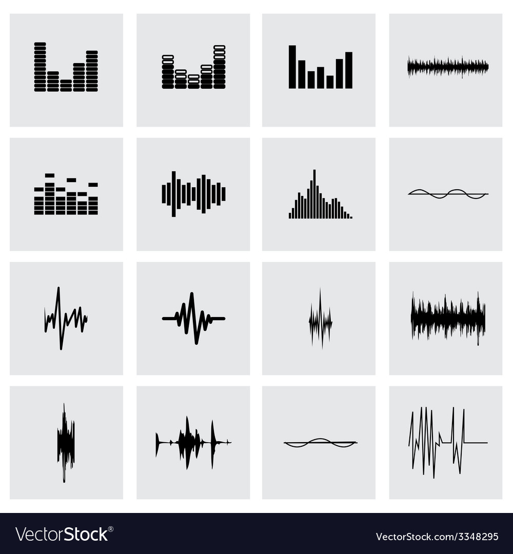 Music soundwave icon set vector | Price: 1 Credit (USD $1)