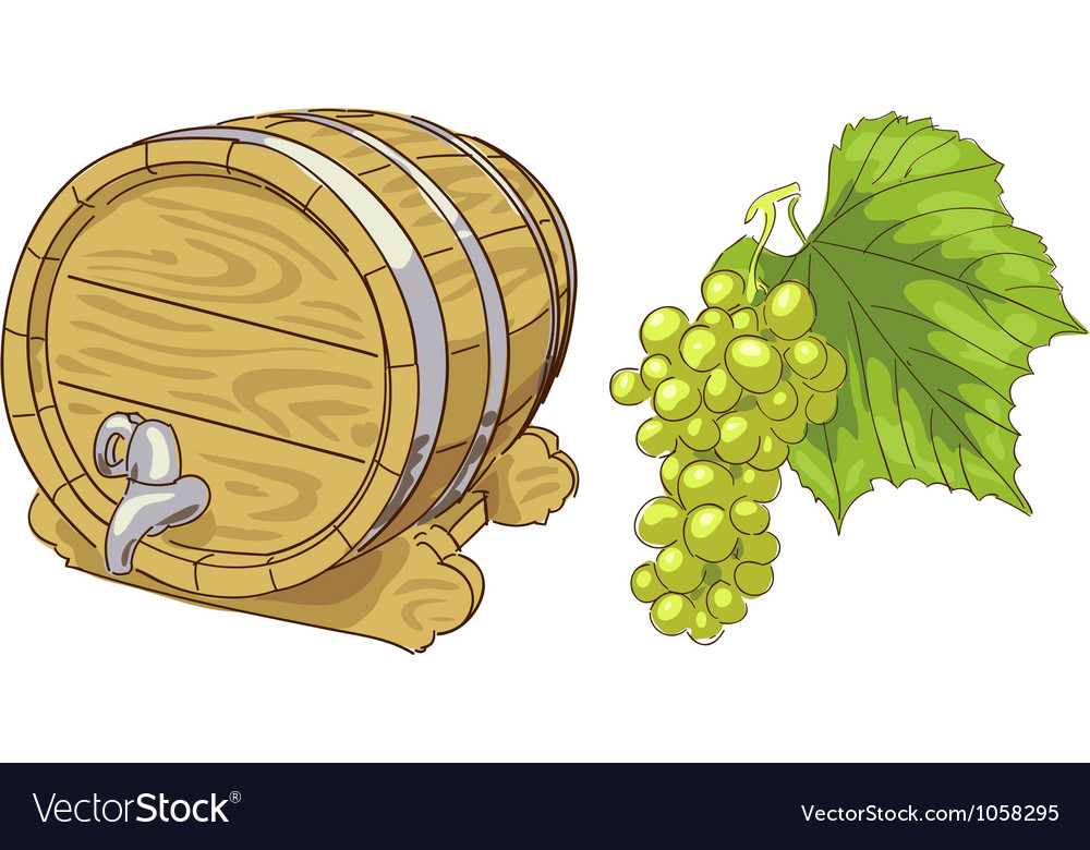 Old wooden barrel and grapes cluster vector | Price: 1 Credit (USD $1)