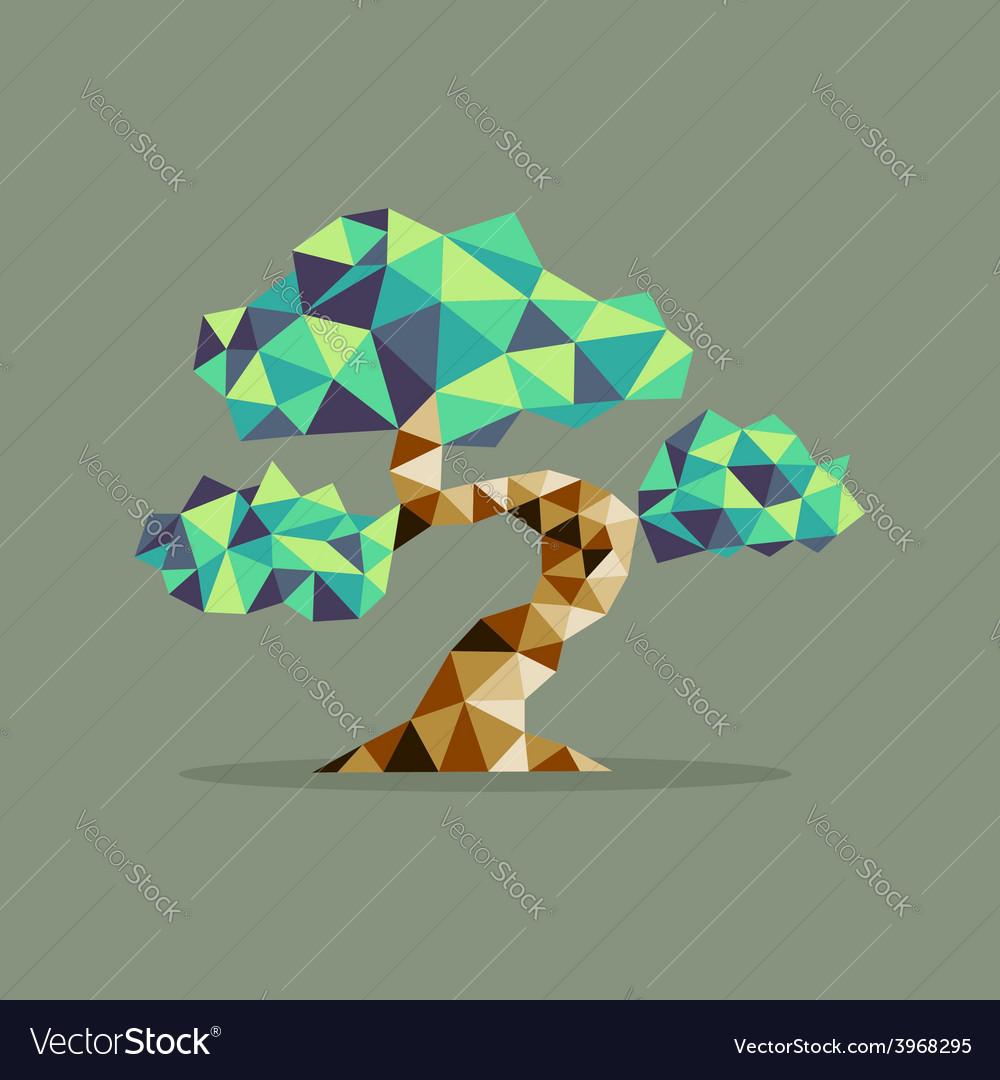 Origami triangle bonsai tree vector | Price: 1 Credit (USD $1)
