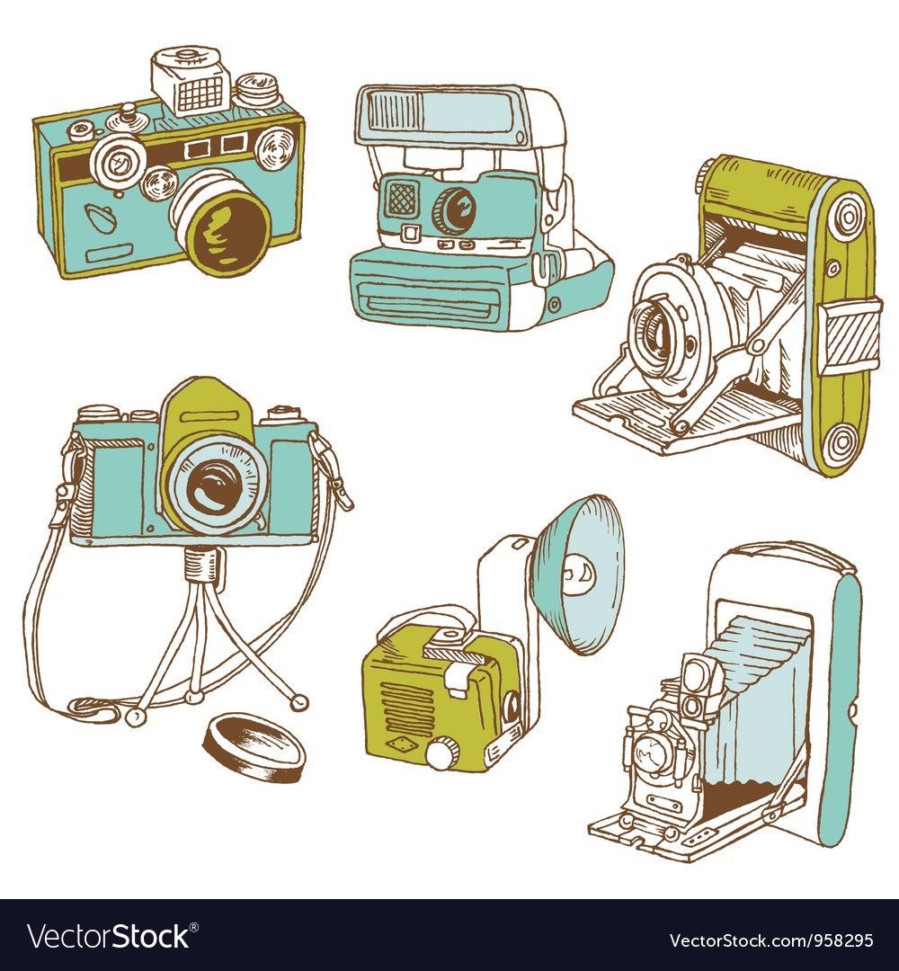 Set of photo cameras vector | Price: 1 Credit (USD $1)