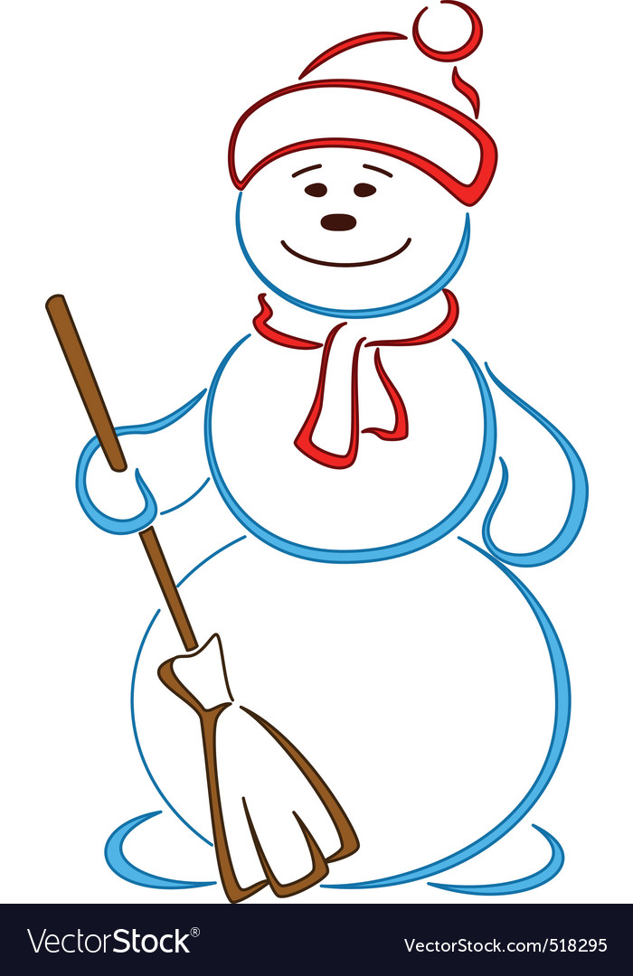 Snowball in a cap with a broom vector | Price: 1 Credit (USD $1)