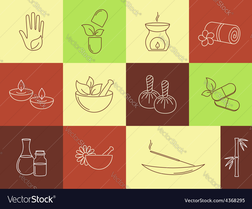 Spa ayurveda and beauty treatment icons set vector | Price: 1 Credit (USD $1)