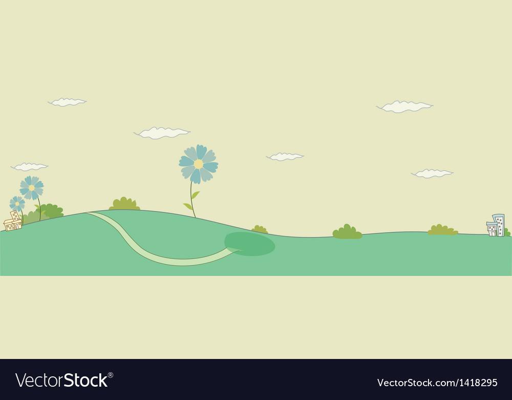 Village landscape sketch vector | Price: 1 Credit (USD $1)