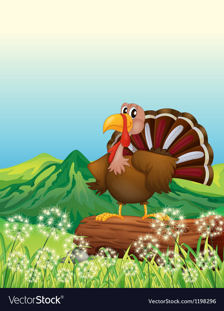 A turkey above a trunk at the hilltop vector | Price: 1 Credit (USD $1)