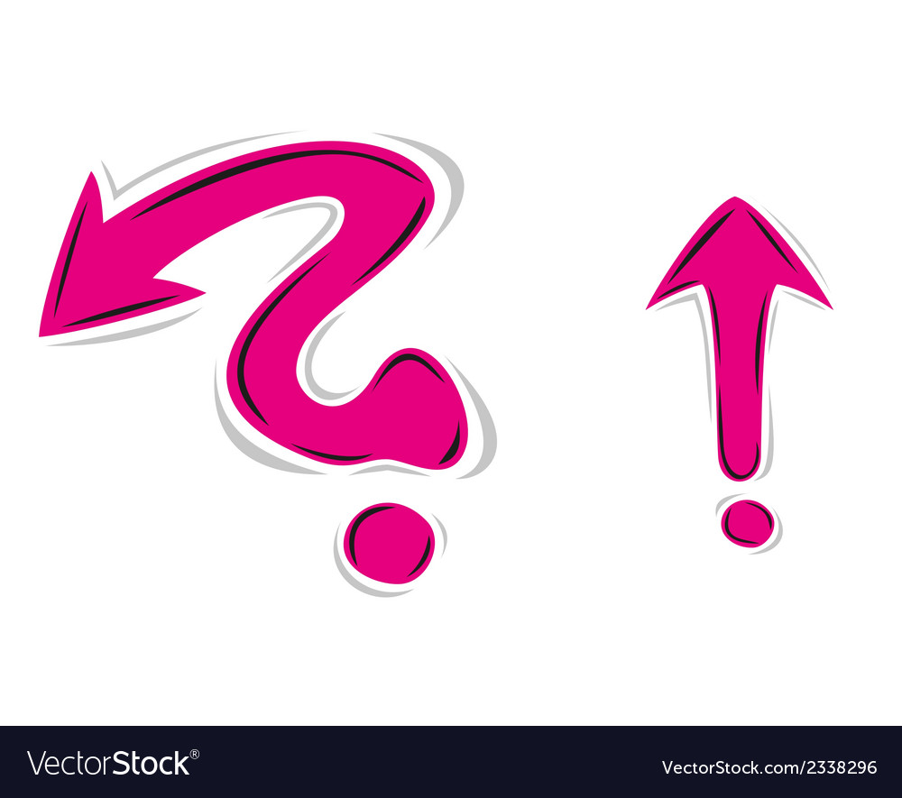 Arrows as question mark and exclamation mark vector | Price: 1 Credit (USD $1)