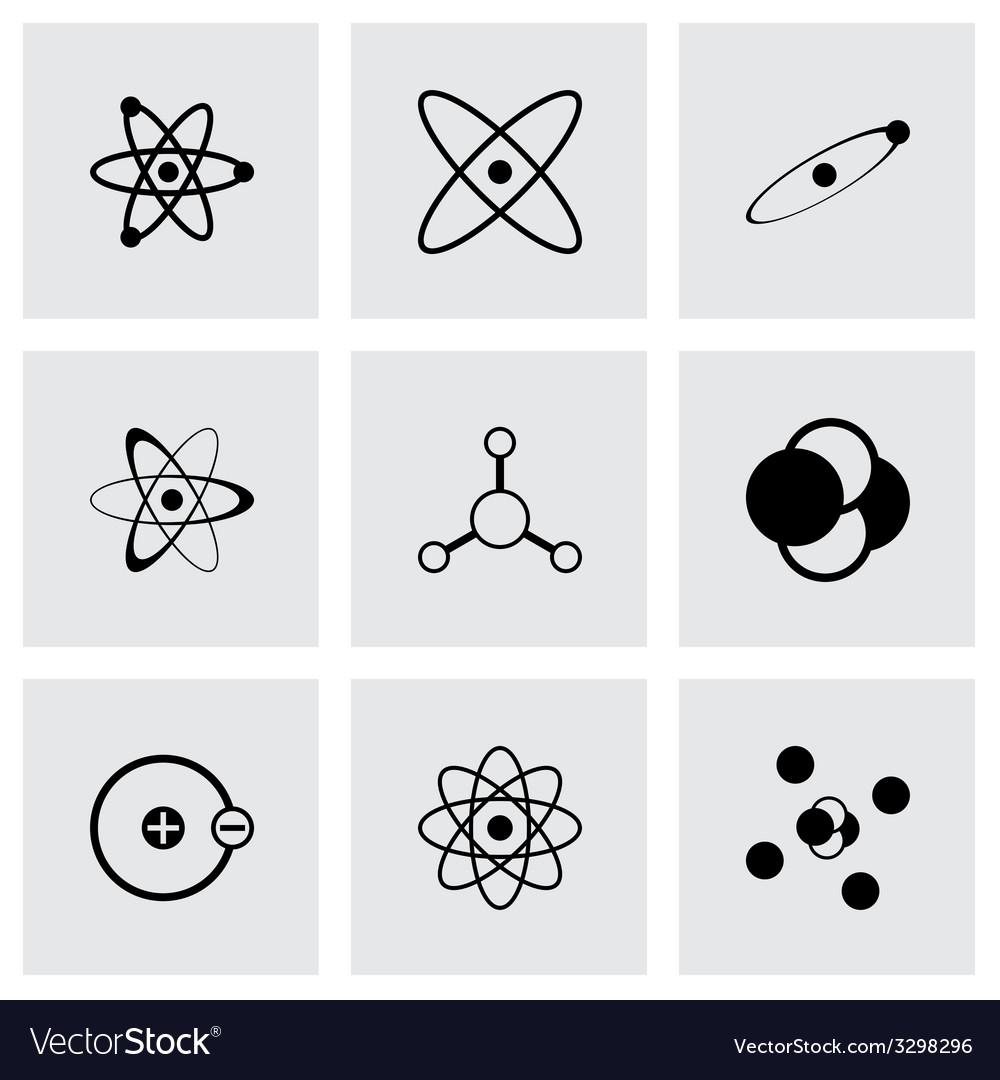 Black atom icon set vector | Price: 1 Credit (USD $1)
