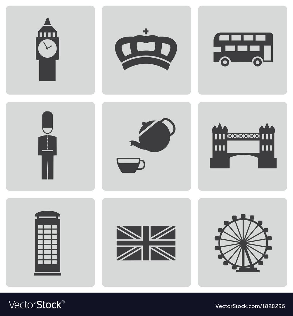 Black london icons set vector | Price: 1 Credit (USD $1)