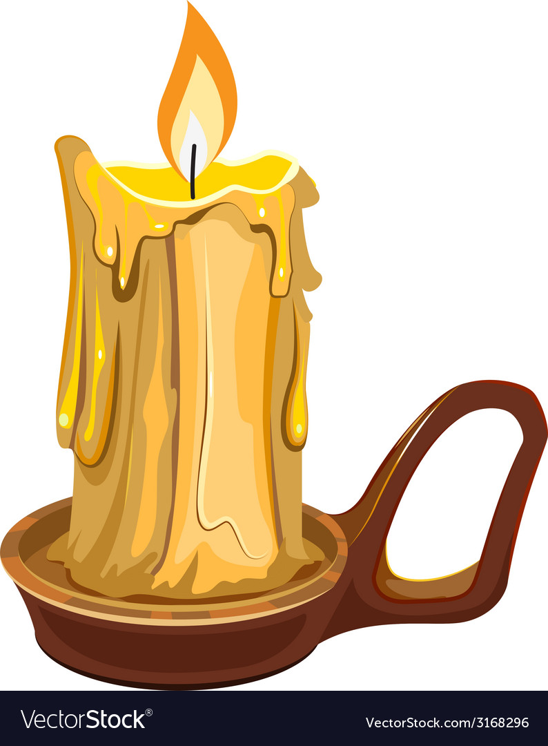 Burning wax candle in a stand vector   Price: 1 Credit (USD $1)