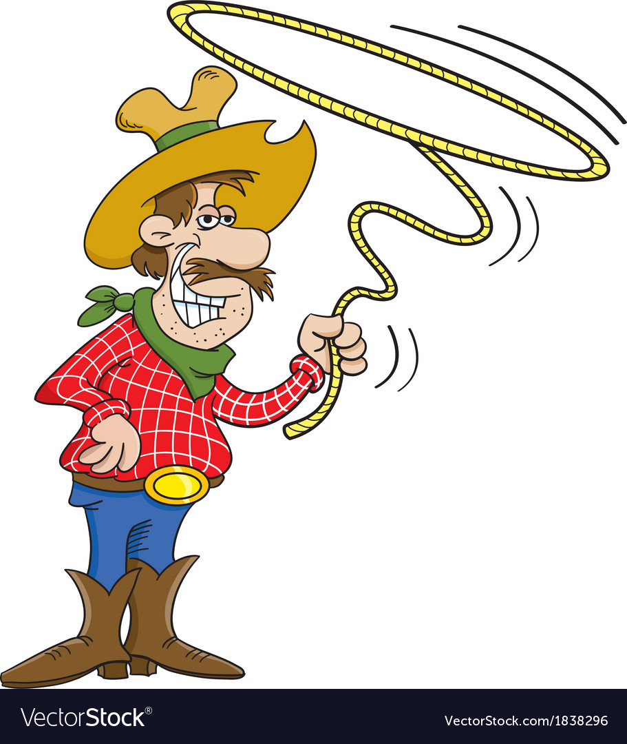 Cartoon cowboy with a lasso vector | Price: 1 Credit (USD $1)