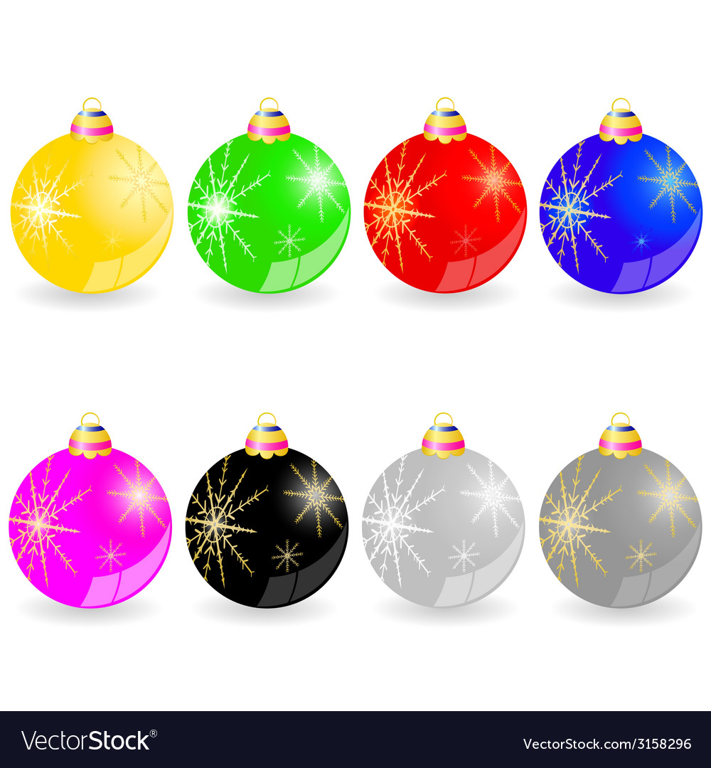 Christmas decorative ball in different color vector | Price: 1 Credit (USD $1)