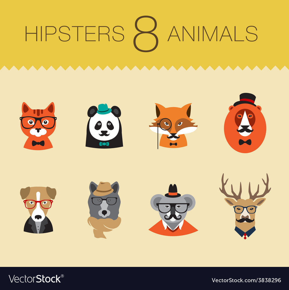 Cute fashion hipster animals set 1 of icons vector | Price: 1 Credit (USD $1)