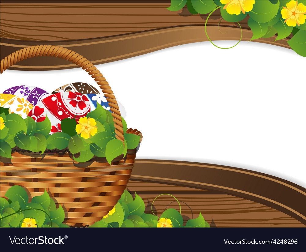 Easter basket with painted eggs vector | Price: 3 Credit (USD $3)