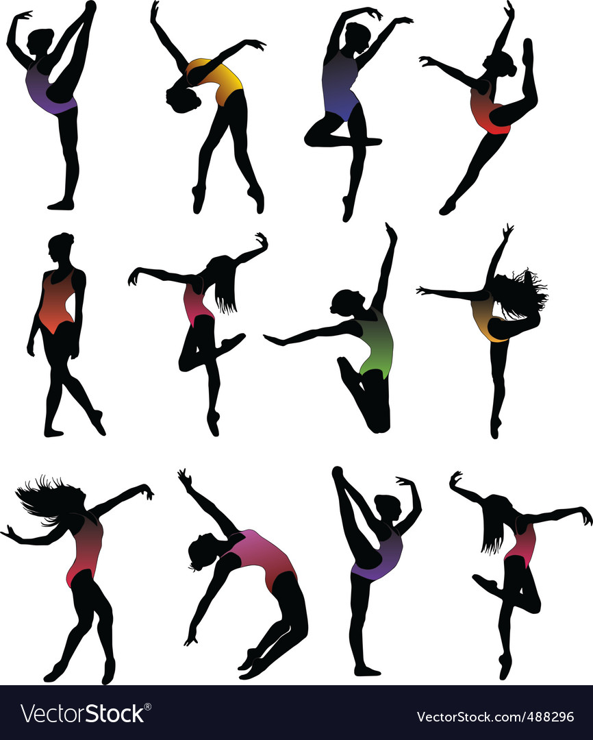 Girl ballet silhouettes vector vector | Price: 1 Credit (USD $1)
