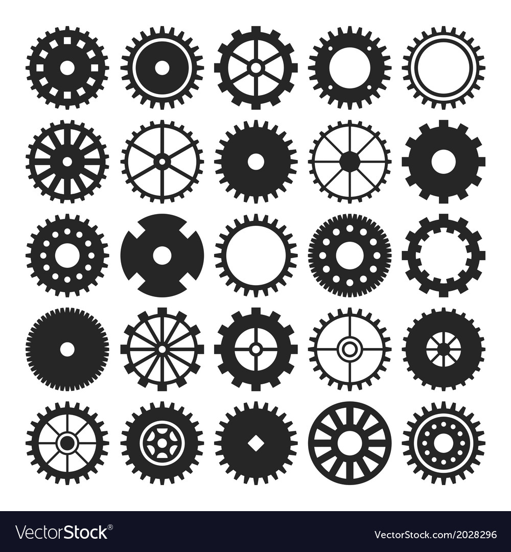 Set of gear wheels isolated on white background vector | Price: 1 Credit (USD $1)
