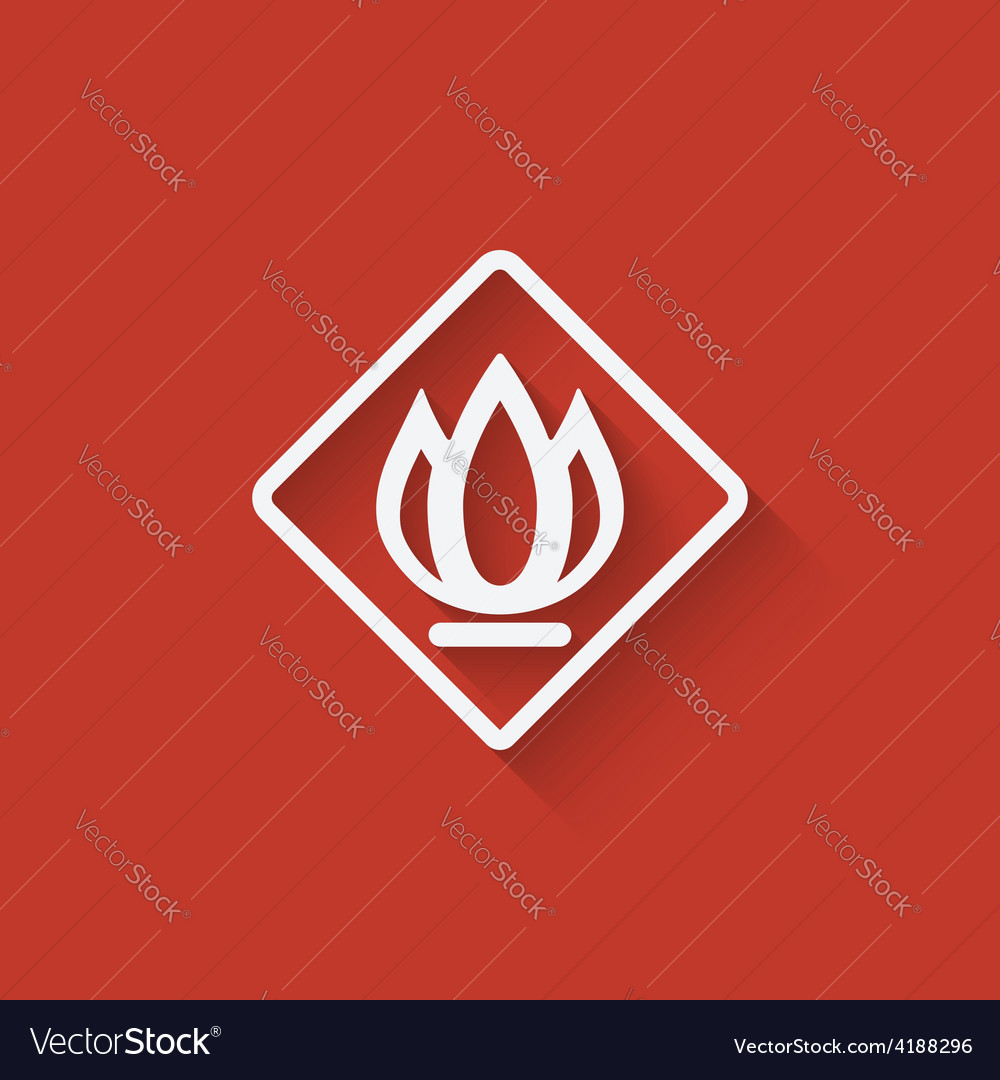 Sign fire on red background vector | Price: 1 Credit (USD $1)