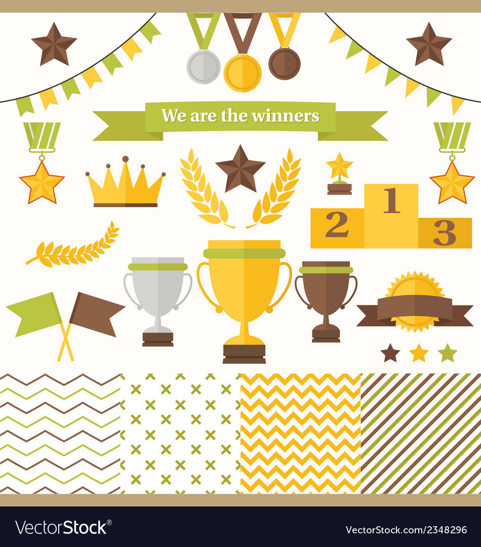 Trophy and winners icons set vector | Price: 1 Credit (USD $1)
