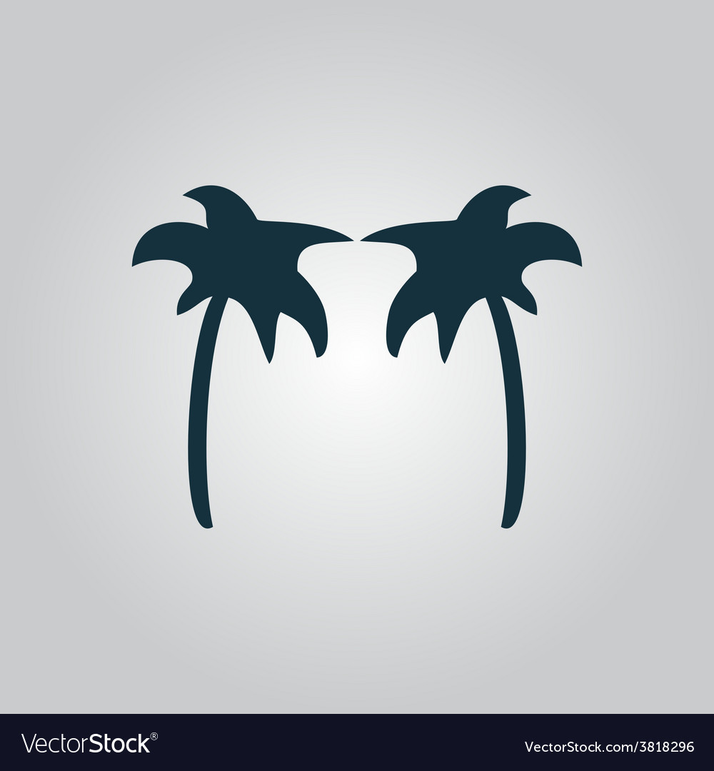 Two black palm trees silhouette isolated vector | Price: 1 Credit (USD $1)