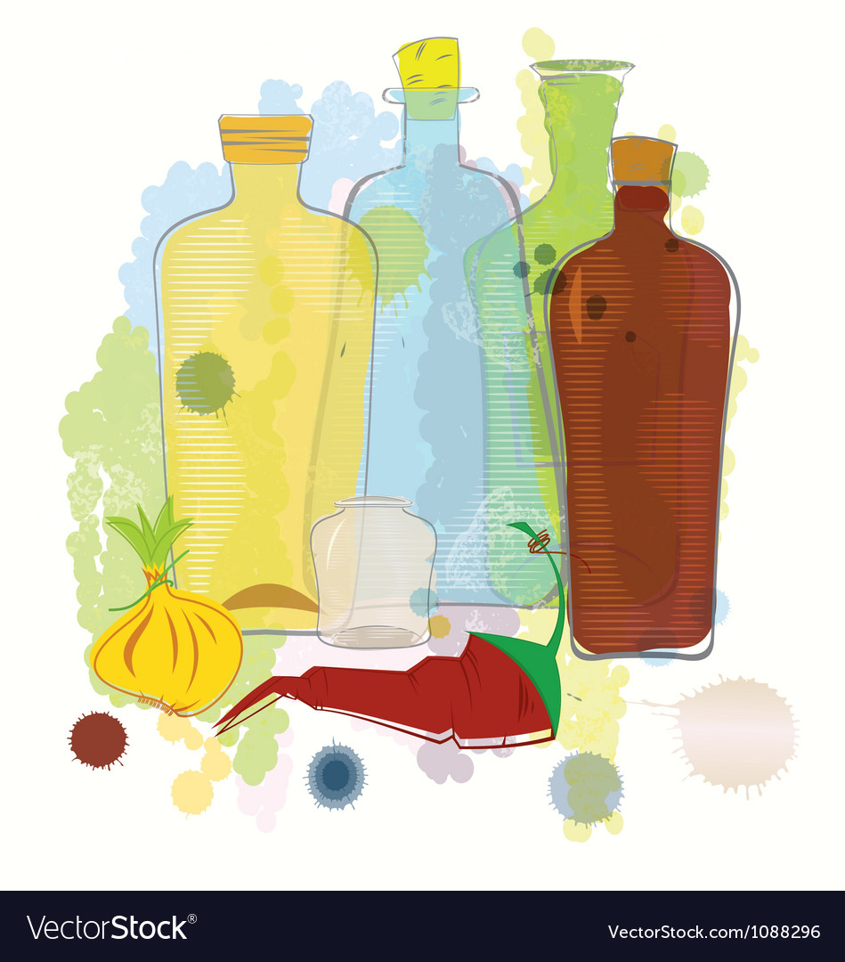 Water color bottles pepper and onion vector | Price: 1 Credit (USD $1)