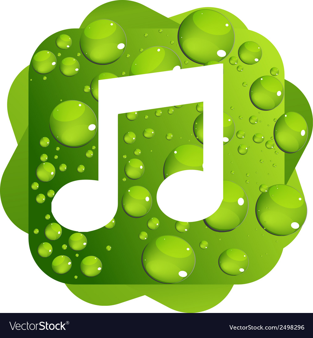 Water drops on green background music icon vector | Price: 1 Credit (USD $1)