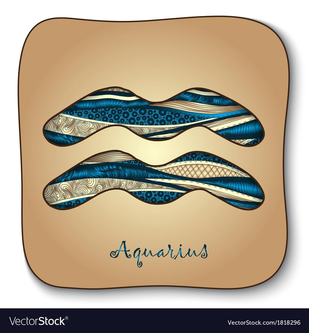 Zodiac sign - aquarius doodle hand-drawn style vector | Price: 1 Credit (USD $1)