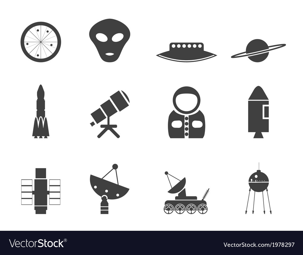 Astronautics and space icons vector | Price: 1 Credit (USD $1)