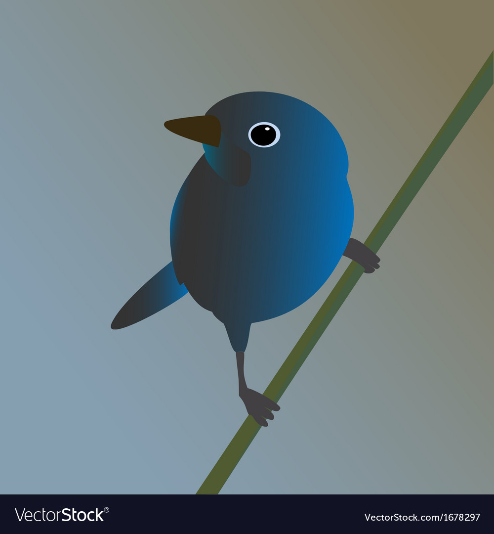 Blue bird on a branch vector | Price: 1 Credit (USD $1)