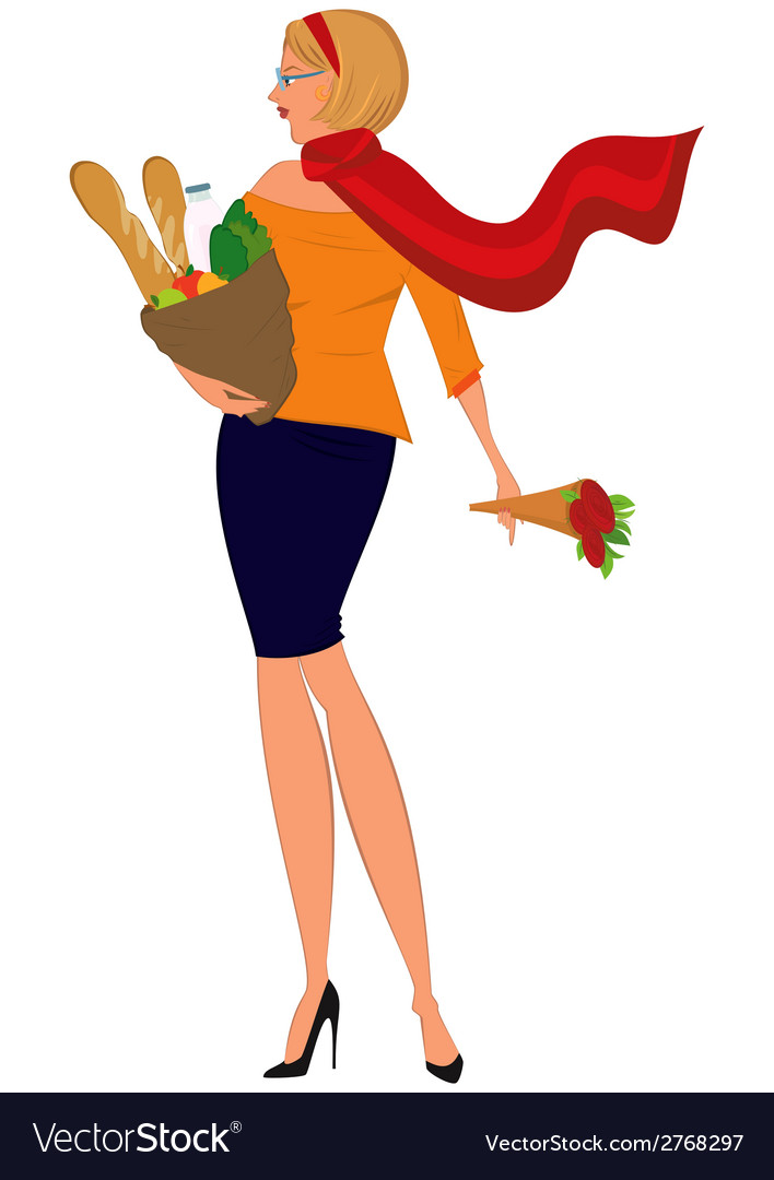 Cartoon woman in red scarf with shopping bag and vector | Price: 1 Credit (USD $1)