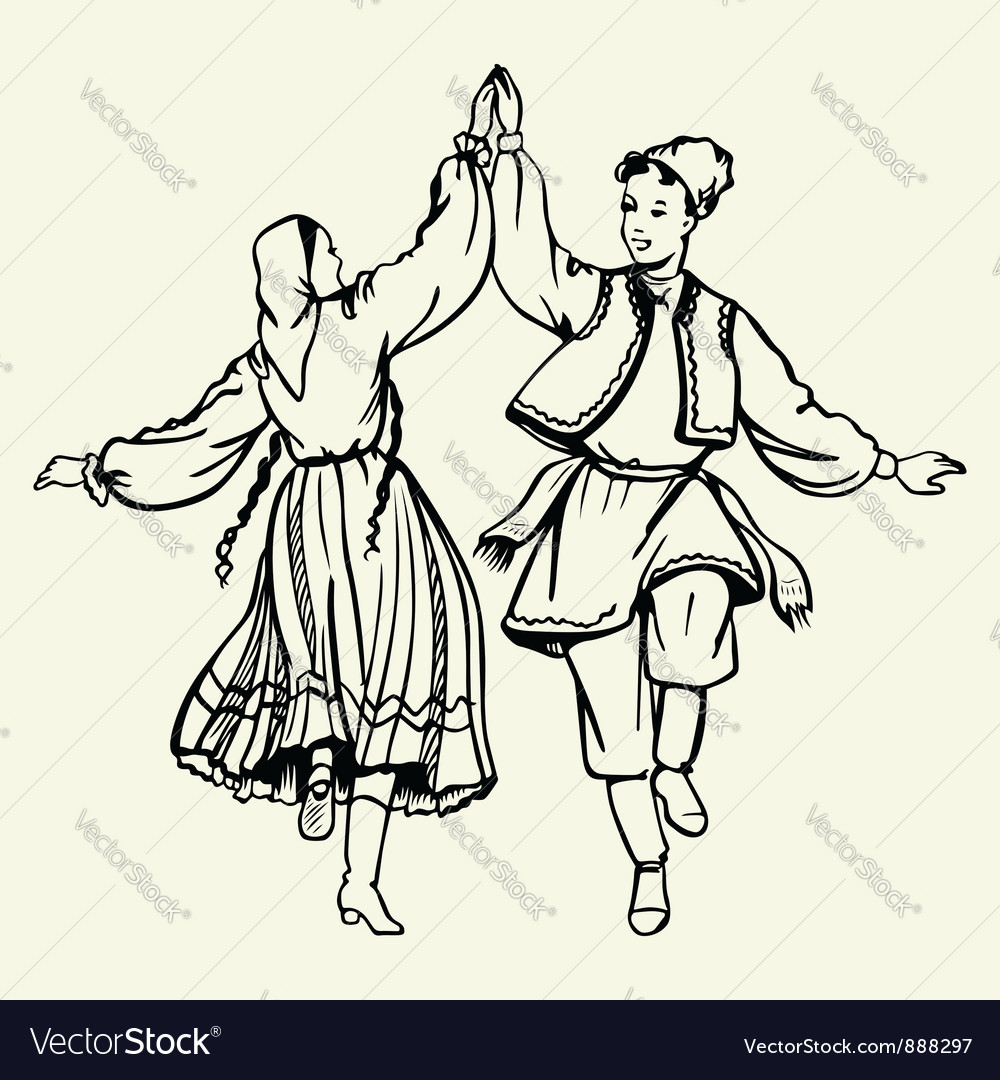 Couple dancing dressed in national costumes vector | Price: 1 Credit (USD $1)