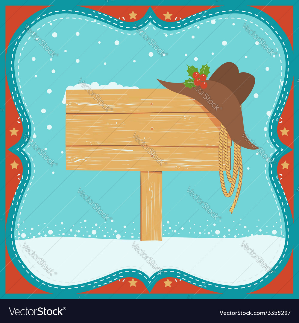 Cowboy christmas card with western hat and wood vector | Price: 1 Credit (USD $1)