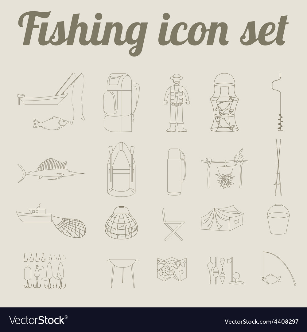 Fishing equipment icon set outline version vector | Price: 1 Credit (USD $1)