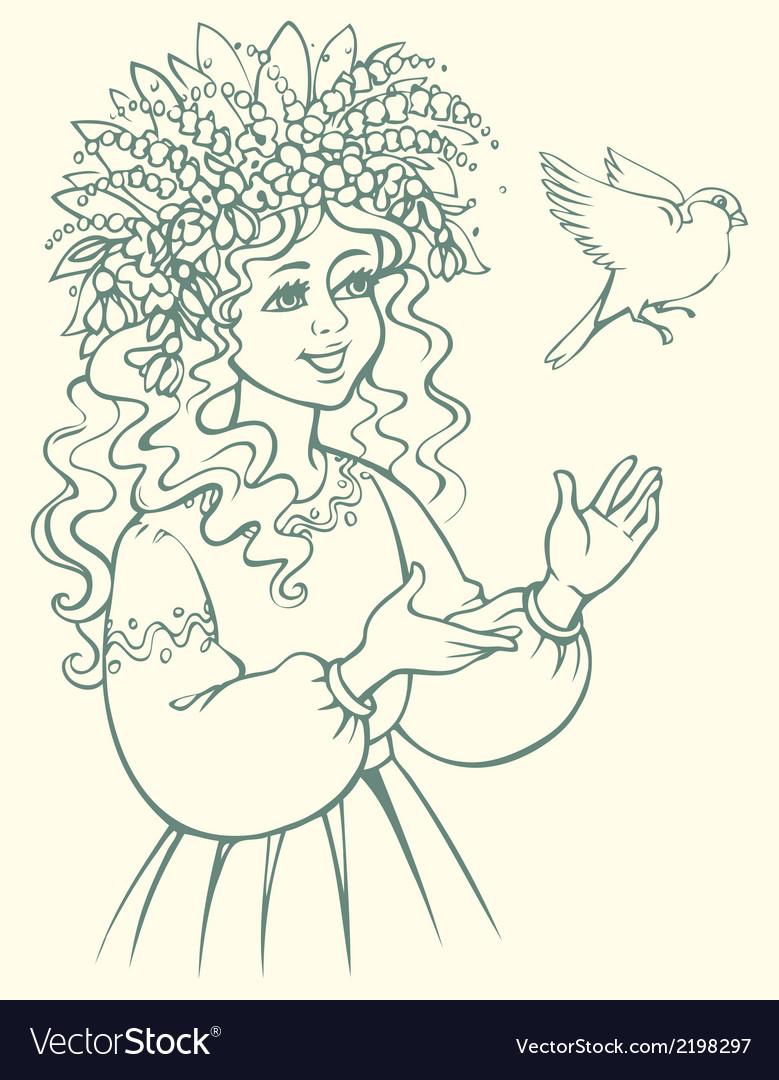 Girl in wreath looking at bird vector | Price: 1 Credit (USD $1)